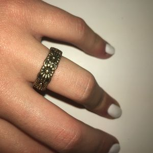 Dainty antiqued gold flower ring